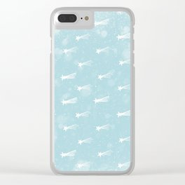 Merry Christmas-Festive Falling Stars X-Mas Pattern Clear iPhone Case