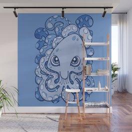 Happy Octopus Squid Kraken Cthulhu Sea Creature - Baby Blue Wall Mural