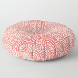 Peach echo and white swirls doodles Floor Pillow