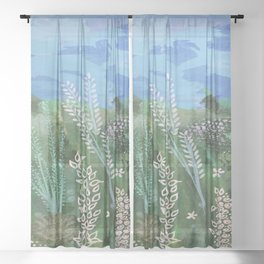 Mixed Media spring Meadow Painting Sheer Curtain