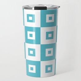 Retro Mid Century Modern Square Pattern Light Aqua Blue Green Travel Mug