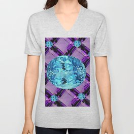 BLUE AQUAMARINES & PURPLE AMETHYST BIRTHDAY GEMS Unisex V-Neck