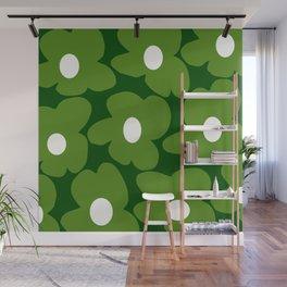Spring Green Retro Flowers Dark Green Background #decor #society6 #buyart Wall Mural