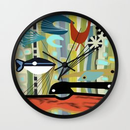 Mid Century Modern Fish Art Wall Clock