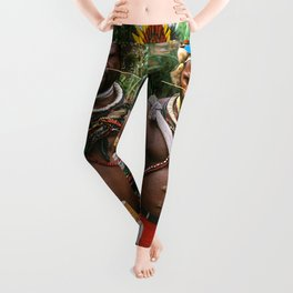Papua New Guinea: Two Countryside Villagers Leggings