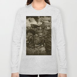 Abandoned Old Farmall Tractor in Sepia Tone Long Sleeve T-shirt