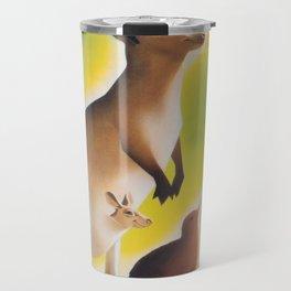 Kangaroo and Kiwi Bird Vintage Art Travel Mug