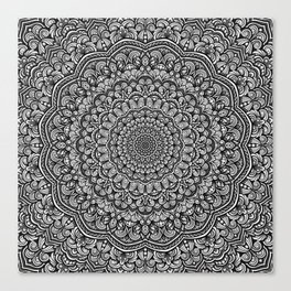 Gray colors mandala Sophisticated black and white ornament Canvas Print
