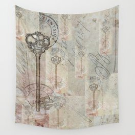 Antique French Key and Postmark Wall Tapestry