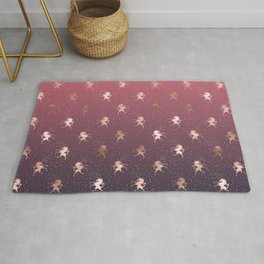 Modern Home Ombre Gold Unicorn Pattern Rug