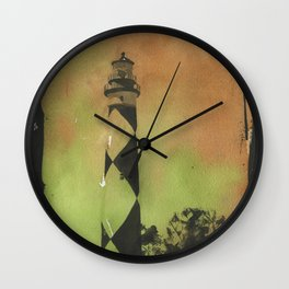 Fine art original watercolor painting of Cape Lookout lighthouse- Outer Banks, North Carolina Wall Clock
