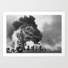 USS Bunker Hill Kamikaze Attack Art Print