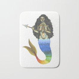warrior mermaid with a spear Bath Mat
