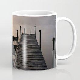 Foggy Adirondack Dawn: Sun, Boat, and Dock Coffee Mug