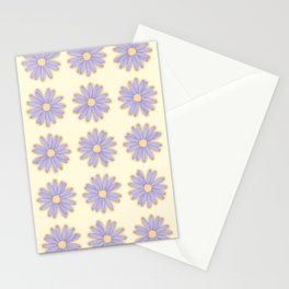 Purple Doodle Daisies Vector Pattern Stationery Cards