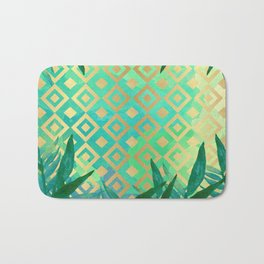 Pattern geometric gold and leaf Bath Mat