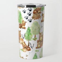 Honey Bears Woodland Animal Pattern Travel Mug