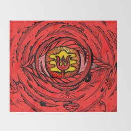 Eye of an Incarnation Red Throw Blanket