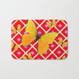 Yellow Butterflies on Red Patterned Art Bath Mat