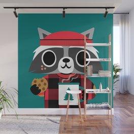 Raccoon in Red Buffalo Plaid Sweater Wall Mural