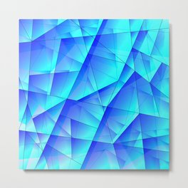 Abstract celestial pattern of blue and luminous plates of triangles and irregularly shaped lines. Metal Print