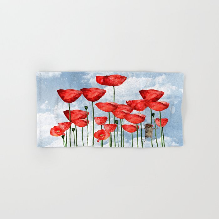 Mouse and poppies on a cloudy day Hand & Bath Towel