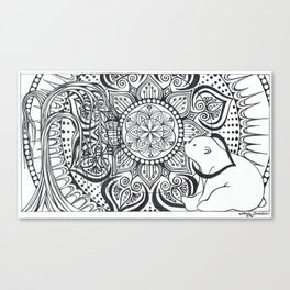 Polar Bear Mandala by Lady Lorelie Canvas Print
