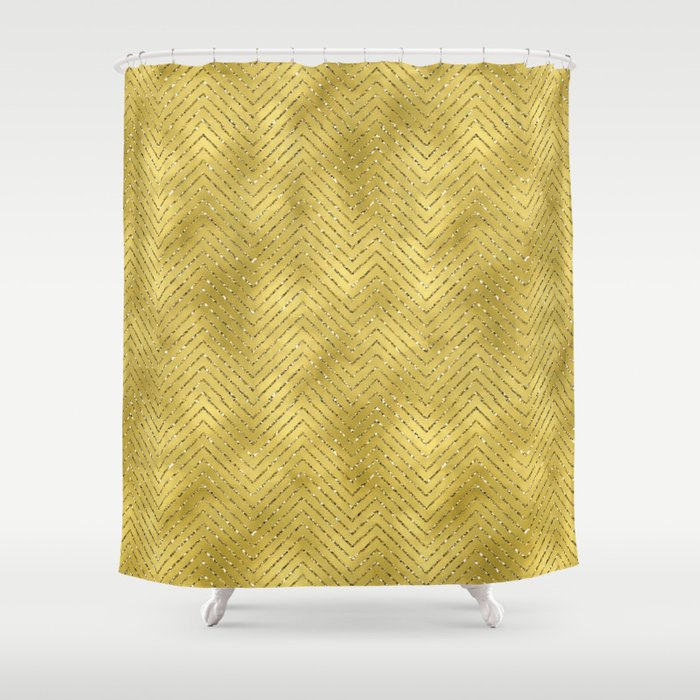 Gold ,Glitter and Chevrons Shower Curtain