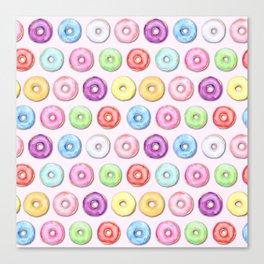 Watercolor Pastel Color Donut Pattern Canvas Print