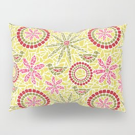 Birds and Flowers Mosaic - Yellow, green and pink Pillow Sham