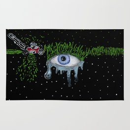 mowing the lawn crying eye Rug