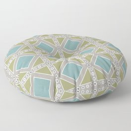 Teal and Moss Green on Grey Floor Pillow
