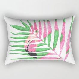 Pink Flamingo Palm Leaf Rectangular Pillow