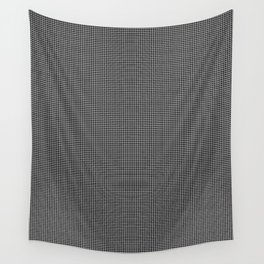 White and Gray Basket Weave Lines on Black Wall Tapestry