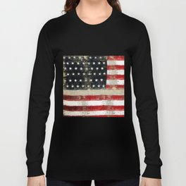 USA Flag ~ American Flag ~ Distressed Pattern ~ Ginkelmier Inspired Long Sleeve T-shirt