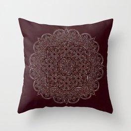 Royal Burgundy Rose Gold Marble Mandala Throw Pillow