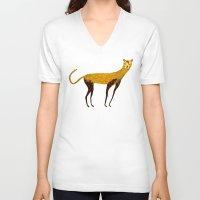 cheetah V-neck T-shirts featuring Cheetah  by Ashley Percival illustration
