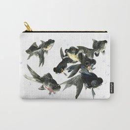 Black Moor, Feng Shui Fish, Good Luck design art, zen brush fish, black fish Carry-All Pouch