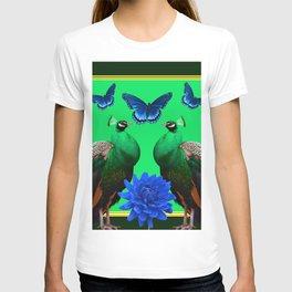 BLUE BUTTERFLIES & GREEN PEACOCKS FLORAL T-shirt