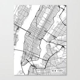 New York City Map, Manhattan New York USA - Black & White Portrait Canvas Print