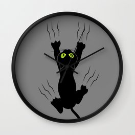 Cat grabing with claws Wall Clock