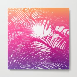 Tropical Orange Pink and Purple Palm Fronds Metal Print