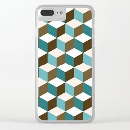 Cubes Pattern Teals Browns Cream White Clear iPhone Case