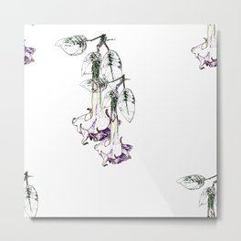 Illustrated Moonflower in Purple and Green Metal Print
