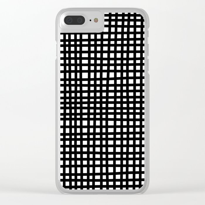 Black and White Gingham Clear iPhone Case