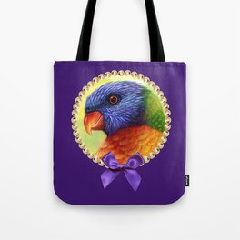 Rainbow lorikeet realistic painting Tote Bag