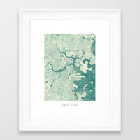 boston map Framed Art Prints featuring Boston Map Blue Vintage by City Art Posters