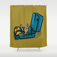 swedish Shower Curtains featuring Retro Swedish Camp Stove by mailboxdisco