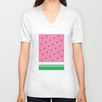 watermelon V-neck T-shirts featuring Watermelon by Anna Lindner