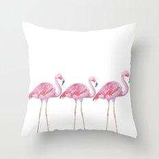 Flamingo - pink bird - animal on white background Throw Pillow